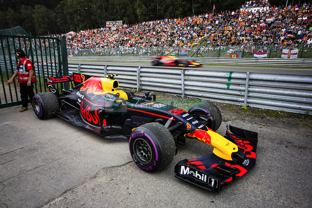 August 27, 2017 - Spa, Belgium - 33 VERSTAPPEN Max from Nederlans of Red Bull Tag Heuer out while 03 RICCIARDO Daniel from Australia of Red Bull Tag Heuer passes trought the straight during the Formula One Belgian Grand Prix at Circuit de Spa-Francorchamps on August 27, 2017 in Spa, Belgium. (Credit Image: © Xavier Bonilla/NurPhoto via ZUMA Press)