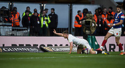 Twickenham, United Kingdom. 7th February, Owen FARRELL raise'e a finger afte scoring a break away try, during the England vs France, 2019 Guinness Six Nations Rugby Match   played at  the  RFU Stadium, Twickenham, England, <br /> © PeterSPURRIER: Intersport Images