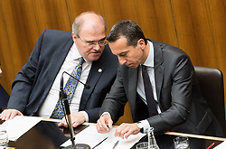 16.05.2017, Parlament, Wien, AUT, Parlament, Nationalratssitzung, Sitzung des Nationalrates mit einer Erklärung des Bundeskanzler zur Regierungskrise und Neuwahlen, im Bild v.l.n.r. Bundesminister für Justiz Wolfgang Brandstetter (ÖVP) und Bundeskanzler Christian Kern (SPÖ) // f.l.t.r. Austrian Minister of Justice Wolfgang Brandstetter and Federal Chancellor of Austria Christian Kern during meeting of the National Council of austria with a speech of the federal chancellor regarding to government crisis and new elections at austrian parliament in Vienna, Austria on 2017/05/16, EXPA Pictures © 2017, PhotoCredit: EXPA/ Michael Gruber