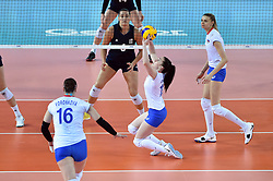 JIANGMEN, June 5, 2018  Daria Ryseva (2nd R) of Russia passes the ball during the match against the United States at FIVB Volleyball Nations League 2018 in Jiangmen City, south China's Guangdong Province, June 5, 2018. Team Russia lost the match 0-3. (Credit Image: © Liang Xu/Xinhua via ZUMA Wire)