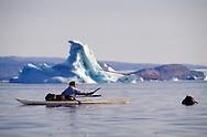 Inuit narwhal hunter Mamarut Kristiansen just throwing his harpoon from his kayak, Qaanaaq, Greenland, Qaanaaq, NW, Geenland