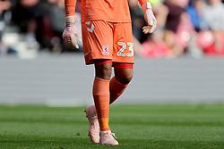 Middlesbrough goalkeeper Darren Randolph wearing pink gloves and boots