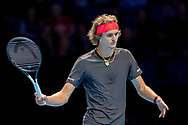 Alexander 'Sasha' Zverev of Germany looks frustrated during the Nitto ATP World Tour Finals at the O2 Arena, London, United Kingdom on 16 November 2018. Photo by Martin Cole