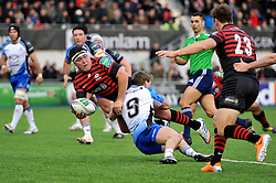 Jamie George (Saracens) looks to offload the ball - Photo mandatory by-line: Patrick Khachfe/JMP - Tel: Mobile: 07966 386802 18/01/2014 - SPORT - RUGBY UNION - Allianz Park, London - Saracens v Connacht Rugby - Heineken Cup.