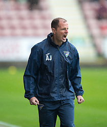 Dunfermline's manager Alan Johnston after Faissal El Bahktaoui misses a chance. Half time : Dunfermline 0 v 0 Cowdenbeath, Scottish League Cup game played today at East End Park.