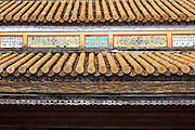 Yellow enamelled roof tiles of the Thai Hoa Palace and Great Rites Court, Hue Citadel / Imperial City, Hue, Vietnam