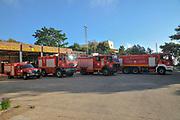 Fire trucks in a fire station, Haifa, Israel