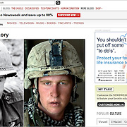 """Newsweek online with photo of U.S. Marine Damon """"Commie"""" Connell in Helmand, Afghanistan by Louie Palu (right) alongside photo from Vietnam (left)."""