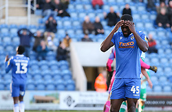 Frank Nouble of Colchester United agonises over a missed chance - Mandatory by-line: Arron Gent/JMP - 08/02/2020 - FOOTBALL - JobServe Community Stadium - Colchester, England - Colchester United v Plymouth Argyle - Sky Bet League Two