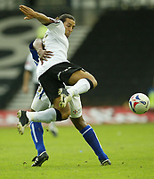 Photo: Aidan Ellis.<br /> Derby County v Leicester City. Coca Cola Championship. 01/10/2005.<br /> Derby's Mounir el Hamdaoui trys acrobatically to get the ball