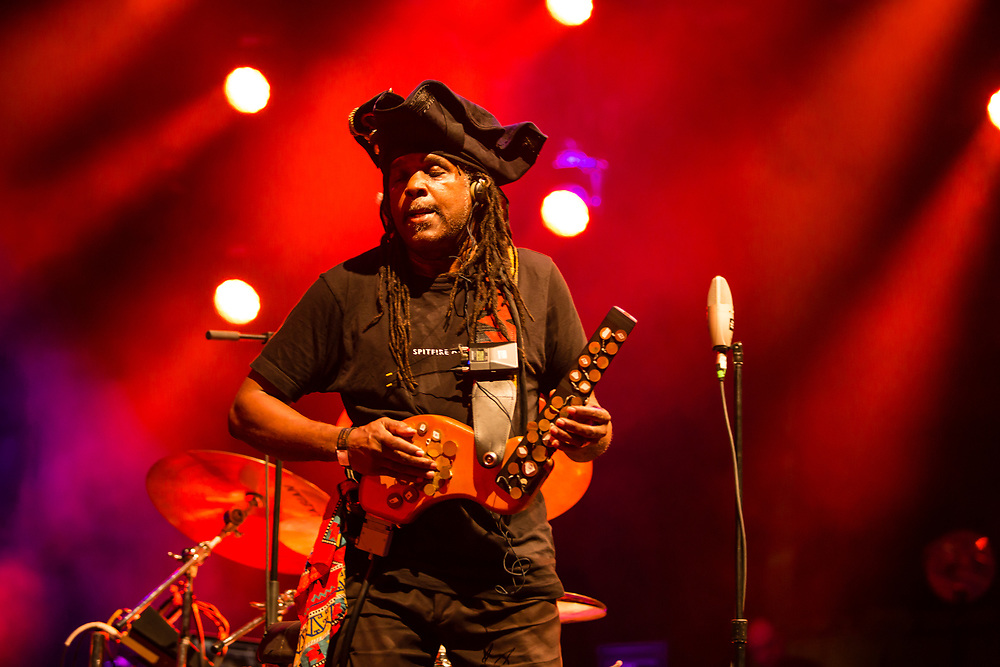 "3 August 2017 – Brooklyn, NY. Singer Nellie McKay opened for Béla Fleck and the Flecktones to a large crowd at the BRIC Celebrate Brooklyn! Festival at the Prospect Park Bandshell. The Flectones' percussionist Roy ""Future Man"" Wooten playing a drumitar, a drum synthesizer, a keyed drum synthesizer shaped like a guitar."