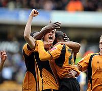 Fotball<br /> England<br /> Foto: Fotosports/Digitalsport<br /> NORWAY ONLY<br /> <br /> Wolverhampton v Cardiff City Championship 22/02/2009<br /> Kyel Reid  (Wolves) celebrates equaliser with Richard Stearman