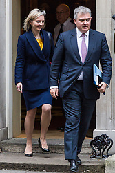 London, December 05 2017. Chief Secretary to the Treasury Elizabeth Truss and Home Office Minister Brandon Lewis leaves 10 Downing Street following the weekly cabinet meeting. © Paul Davey
