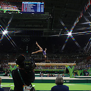 Gymnastics - Olympics: Day 10   Flavia Saraiva #316 of Brazil performing her routine in the Women's Balance Beam Final during the Artistic Gymnastics competition at the Rio Olympic Arena on August 15, 2016 in Rio de Janeiro, Brazil. (Photo by Tim Clayton/Corbis via Getty Images)<br /> <br /> (Note to editors: A special effects starburst filter was used in the creation of this image)