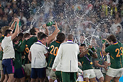 South Africa´s team celebrates the victory after the Rugby World Cup  final match between England and South Africa at the International Stadium ,  Saturday, Nov. 2, 2019, in Yokohama, Japan. South Africa defeated England 32-12. (Florencia Tan Jun/ESPA-Image of Sport)