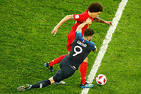 SAINT PETERSBURG, RUSSIA - JULY 10: Olivier Giroud (N9) of France national team and Axel Witsel of Belgium national team vie for the ball during the 2018 FIFA World Cup Russia Semi Final match between France and Belgium at Saint Petersburg Stadium on July 10, 2018 in Saint Petersburg, Russia. MB Media