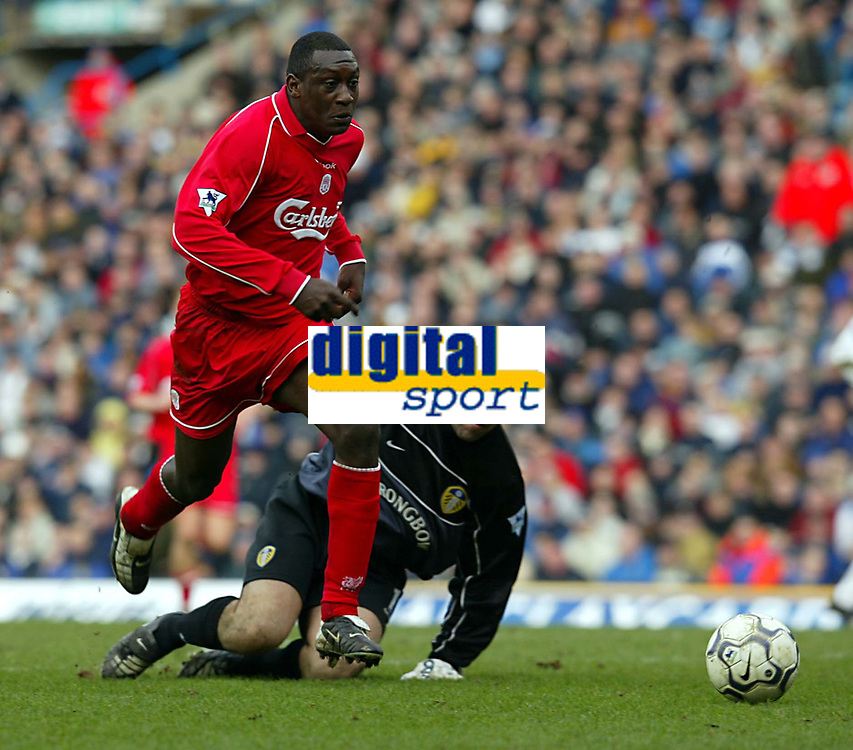 Fotball: Liverpool Emile Heskey rounds Leeds goalkeeper Nigel Martyn to score the second goal during the Premiership match at Elland Road, Leeds.<br /><br />Sunday February 3rd 2002<br /><br />Foto:  David Rawcliffe/Digitalpsort