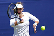Anna Blinkova of Russia plays a forehand during the Women's Singles Quarter Final at the Fuzion 100 Ilkley Lawn Tennis Trophy Tournament held at Ilkley Lawn Tennis and Squad Club, Ilkley, United Kingdom on 19 June 2019.