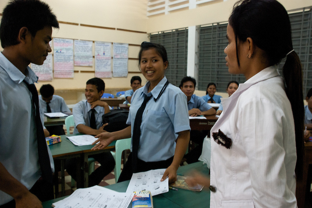 Students attend English class at the Provincial Teacher Training College in Siem Reap, Cambodia, which trains young adults to teach locally.  The school is free of charge for all who can pass an admission test.