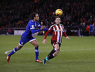 Billy Sharp of Sheffield Utd lines up his shot to score the first goal during the English League One match at Bramall Lane Stadium, Sheffield. Picture date: December 26th, 2016. Pic Simon Bellis/Sportimage
