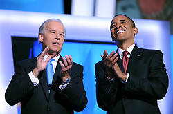 """File photo dated August 27, 2008 of Democratic presidential nominee Barack Obama (R) joins his running mate, Vice President candidate Joe Biden on stage, following Biden's acceptance speech, during the Democratic National Convention in Denver, CO, USA. Former President Barack Obama endorsed Joe Biden, his two-term vice president, on Tuesday morning in the race for the White House. """"Choosing Joe to be my vice president was one of the best decisions I ever made, and he became a close friend. And I believe Joe has all the qualities we need in a president right now,"""" Obama said in a video posted to Twitter. Photo by Olivier Douliery/ABACAPRESS.COM"""