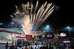 "Firework during flower ceremony after the FIS Alpine Ski World Cup 2016/17 Men's Slalom race named ""Snow Queen Trophy 2017"", on January 5, 2017 in Course Crveni Spust at Sljeme hill, Zagreb, Croatia. Photo by Ziga Zupan / Sportida"