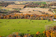 Aerial photograph of rural Wisconsin on a beautiful autumn day.