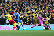 Matej Vydra scores for Watford during the Sky Bet Championship match between Brighton and Hove Albion and Watford at the American Express Community Stadium, Brighton and Hove, England on 25 April 2015.