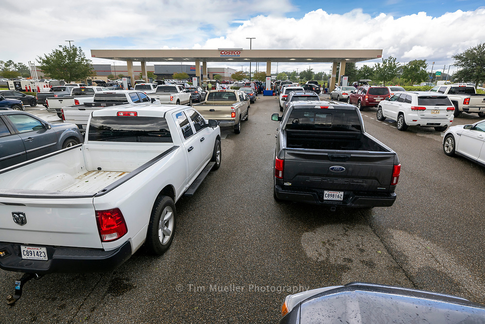Long lines form for gas at the Costco off Airline Highway.