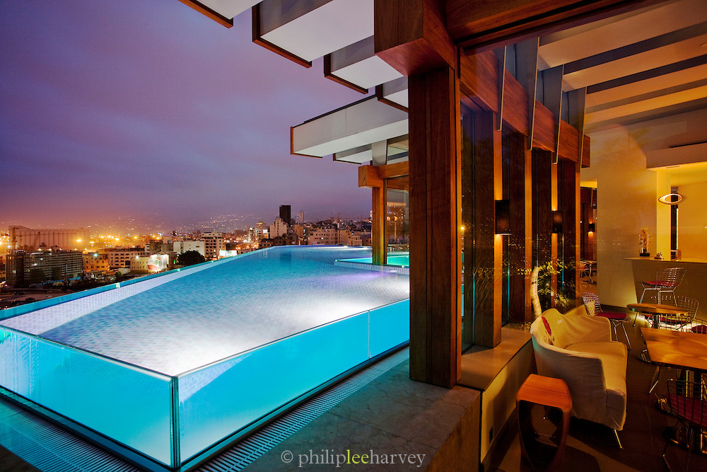 The pool and bar at the Le Gray hotel overlook the skyline of Beirut, Lebanon