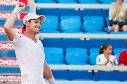 Blaz Kavcic (SLO) celebrate after a tennis match against the Andrey Rublev (RUS) in first round of singles at 26. Konzum Croatia Open Umag 2015, on July 22, 2015, in Umag, Croatia. Photo by Urban Urbanc / Sportida