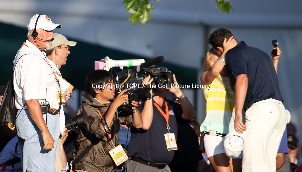 Justin ROSE (ENG) wins his first Major and kisses his wife Kate during fourth round  US Open Championship 2013,Merion,East Course,Ardmore,PA,USA.