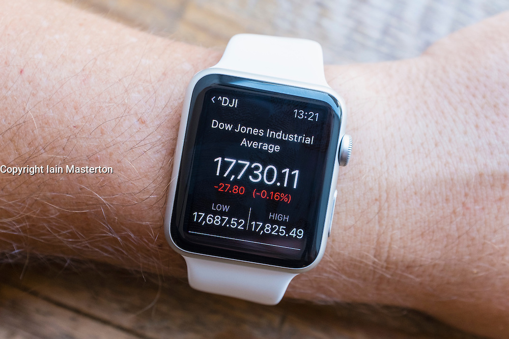 Summary of Dow Jones Industrial Average stock market performance  showing on an Apple Watch