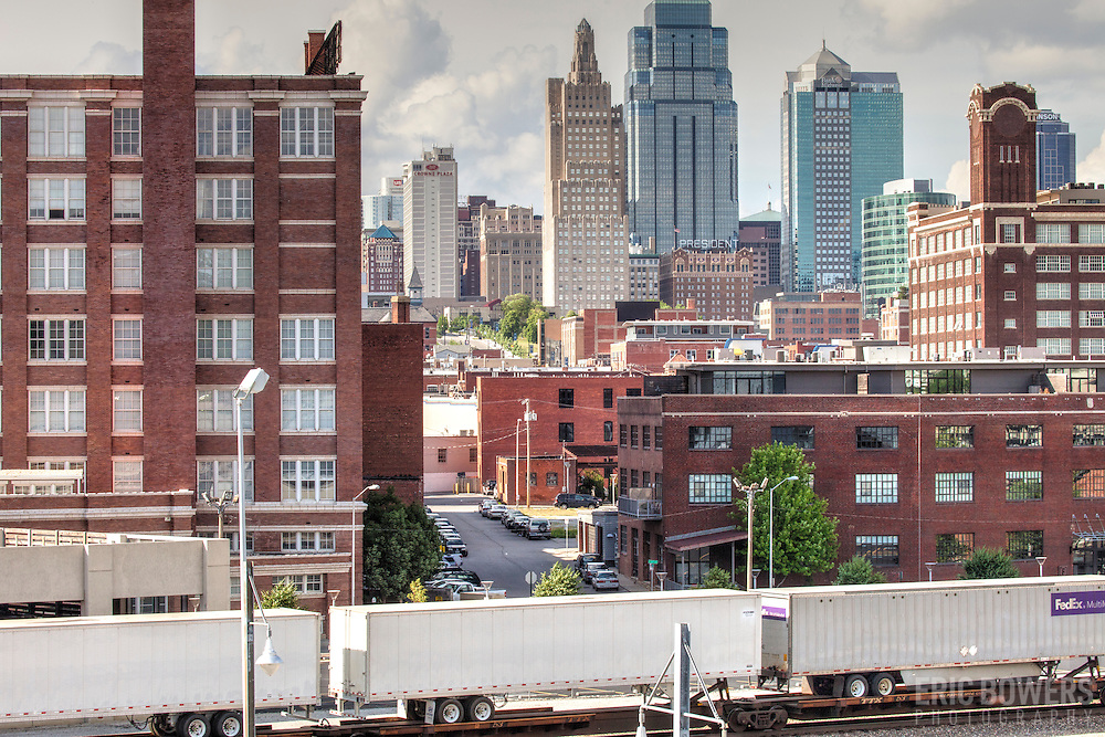 Freight train traffic passing through Downtown Kansas City behind Union Station.