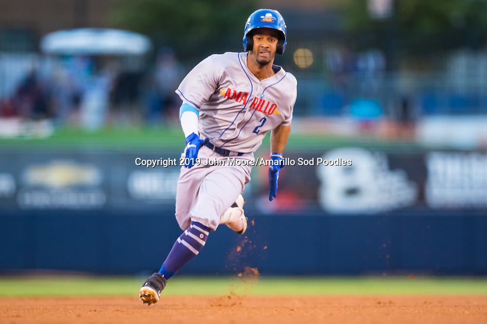 Amarillo Sod Poodles infielder Ivan Castillo (2) runs to third base against the Tulsa Drillers during the Texas League Championship on Friday, Sept. 13, 2019, at OneOK Field in Tulsa, Oklahoma. [Photo by John Moore/Amarillo Sod Poodles]