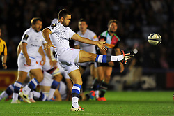 Remi Tales of Castres Olympique kicks the ball - Photo mandatory by-line: Patrick Khachfe/JMP - Mobile: 07966 386802 17/10/2014 - SPORT - RUGBY UNION - London - Twickenham Stoop - Harlequins v Castres Olympique - European Rugby Champions Cup