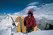 Camp on Denali pass, ski expedition to travserse Denali, Mt McKinley, Alaska