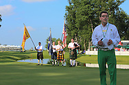 12 JUL 15 Bagpipers serenade the crowd and Barry Cronin after Sunday's Final Round of the John Deere Classic at The TPC Deere Run in Silvis, Ill. (photo credit : kenneth e. dennis/kendennisphoto.com)