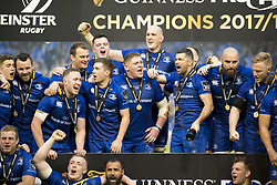 May 27, 2018 - Dublin, Ireland - Leinster players celebrate during the Guinness PRO14 Final match between Leinster Rugby and Scarlets at Aviva Stadium in Dublin, Ireland on May 26, 2018  (Credit Image: © Andrew Surma/NurPhoto via ZUMA Press)