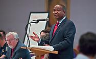 Senator Cleo Fields leading a community meeting in Baton Rouge on February 19, 2020.