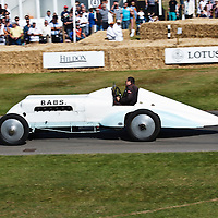 Thomas Special 'Babs' (1923), driver Geraint Owen, Welsh landspeed record breaking car, at the Goodwood FOS on 28 June 2015
