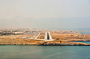 "runway approach shot Heraklion International Airport, ""Nikos Kazantzakis"" (IATA: HER, ICAO: LGIR) the primary airport on the island of Crete, Greece"
