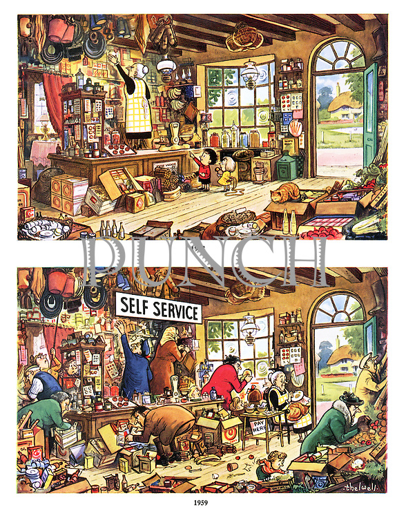 """(An old village shop keeper changes her store to """"Self Service"""" for an easier life)"""