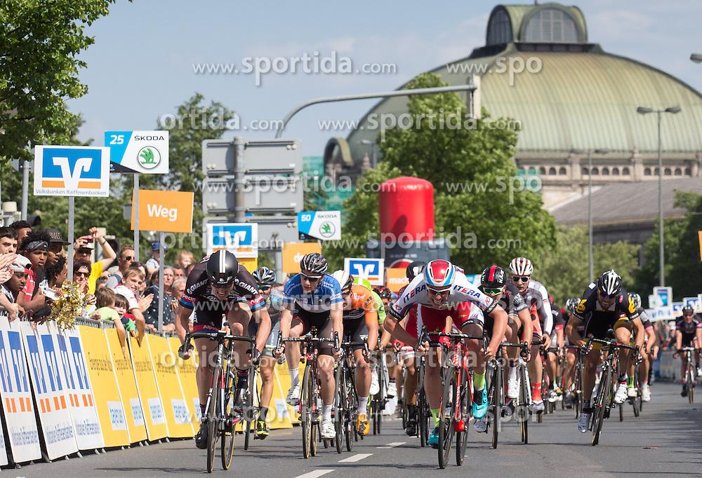 Radsport: 36. Bayern Rundfahrt 2015 / 5. Etappe, Hassfurt - Nuernberg, 17.05.2015<br /> Cycling: 36th Tour of Bavaria 2015 / Stage 5, <br /> Hassfurt - Nuernberg, 17.05.2015<br /> Ziel - Arrival, # 51 Degenkolb, John (GER, TEAM GIANT - ALPECIN), # 46 Selig, Ruediger (GER, TEAM KATUSHA)