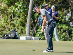 January 11, 2019 - Honolulu, HI, U.S. - HONOLULU, HI - JANUARY 11: Justin Thomas hits his mutt on the first hole during the second round of the Sony Open at the Waialae Country Club in Honolulu, HI. (Photo by Darryl Oumi/Icon Sportswire) (Credit Image: © Darryl Oumi/Icon SMI via ZUMA Press)