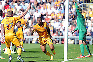 Newport's Joss Labadie (c) turns away to celebrate after he scores the 2nd goal to equalise at 2-2. .Skybet EFL league two match, Newport county v Mansfield Town at Rodney Parade in Newport, South Wales on Saturday 6th August 2016.<br /> pic by Carl Robertson, Andrew Orchard sports photography.