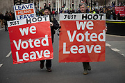 Pro Brexit, Leave demonstrators protest with placards in Westminster on the day after the 'meaningful vote' when MPs again rejected the Prime Minister's Brexit Withdrawal Agreement and before a vote on removing the possibility of a No Deal Brexit and extending article 50 on 13th March 2019 in London, England, United Kingdom. With just over two weeks until the UK is supposed to be leaving the European Union, the final result still hangs in the balance.