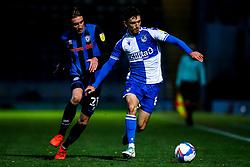 Zain Westbrooke of Bristol Rovers takes on Matthew Lund of Rochdale - Mandatory by-line: Robbie Stephenson/JMP - 31/10/2020 - FOOTBALL - Crown Oil Arena - Rochdale, England - Rochdale v Bristol Rovers - Sky Bet League One