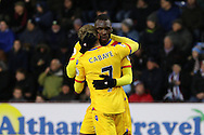 Christian Benteke of Crystal Palace celebrates scoring his teams 2nd goal with teammate Yohan Cabaye. Premier League match, Burnley v Crystal Palace at Turf Moor in Burnley , Lancs on Saturday 5th November 2016.<br /> pic by Chris Stading, Andrew Orchard sports photography.