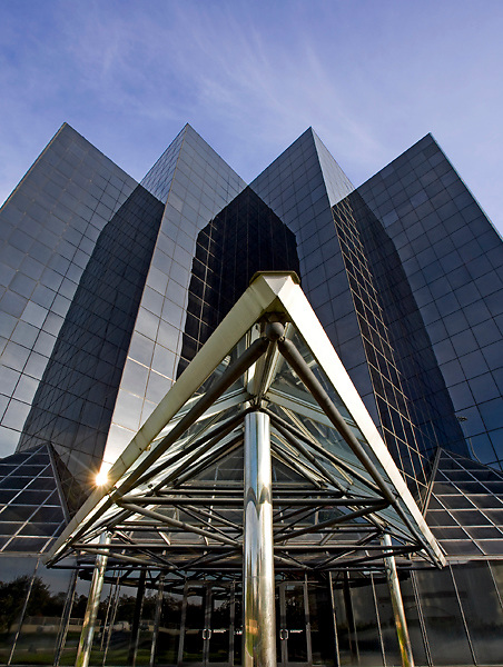 Stock photo of Park Central Plaza One at 1111 North Loop West in Houston,Texas with modern sculptural porto cochere